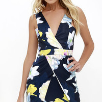 Be a Dahlia Blue Floral Print Dress