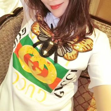 """""""Gucci"""" Women Fashion Sequin Dragonfly Embroidery Letter Print Short Sleeve T-shirt Top Tee"""