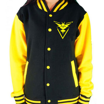 Team Instinct KIDS Varsity College Jacket - Pokemon Go Inspired Boys & Girls Team Mystic Team Valor Top