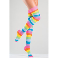 Be Wicked Neon Rainbow Thigh High Stockings
