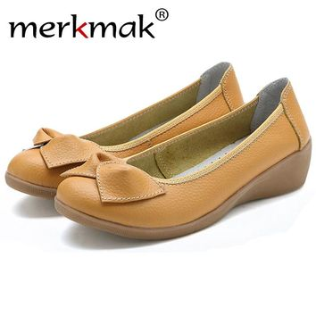 Merkmak 2017 Women's Shoes Fashion Genuine Leather Candy Color Loafer Footwear Shoes Slip On Knot Women Flats Moccasins Sapatos