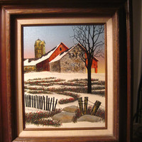 Signed H. Hargrove Original Painting, 1980's. Very Collectible, Certified Oil, Farm in Winter