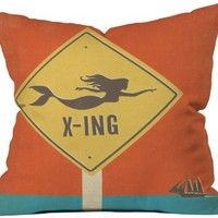 DENY Designs Anderson Design Group Mermaid X Ing Throw Pillow, 16 by 16-Inch