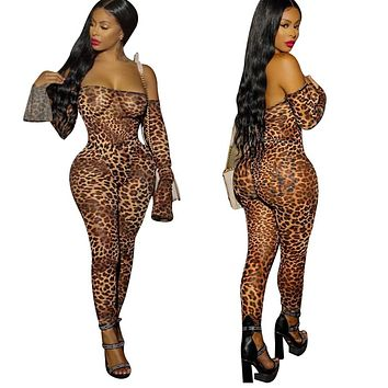 Women Sexy Leopard Off The Shoulder Long Sleeve Mesh Bodycon Jumpsuit