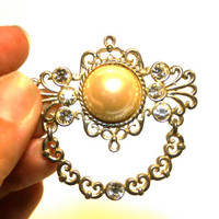 Vintage Rhinestone and Faux Pearl Brooch Filigree Door Knocker Style