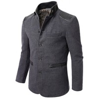 Mens China Collar Wool Coat (CMOCO028)