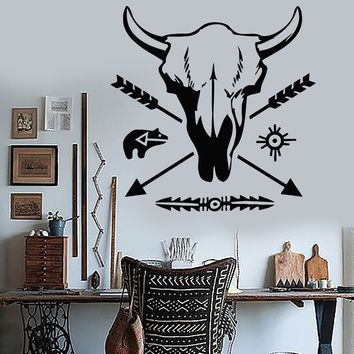 Vinyl Wall Stickers Ethnic Decor Pattern Bull Skull Arrow Decal Mural Unique Gift (176ig)