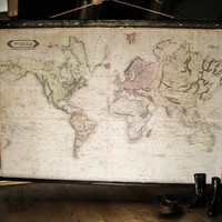 Beautiful, large world map canvas + antique wooden/iron pirate industrial frame Giant wall decor Huge wall Framed world map Urban Vintage