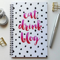 Writing journal, spiral notebook, bullet journal, sketchbook, black white polka dot, pink, bloggers gift, blank lined grid - Eat drink blog