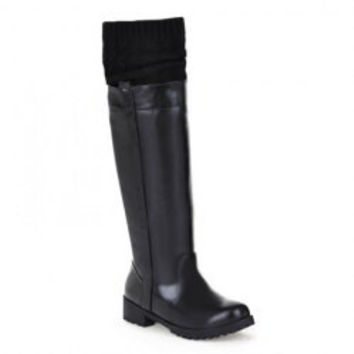 Retro Women's Sweater Boots With Splice and Round Toe Design