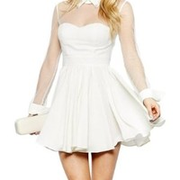 SMSS Women's Tulle Sleeve Pointed Collar Party Cocktail Short Flared Dress M