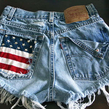 Hard to find Levis 501 button fly High waist destroy denim shorts super frayed with US flag and studs size SM