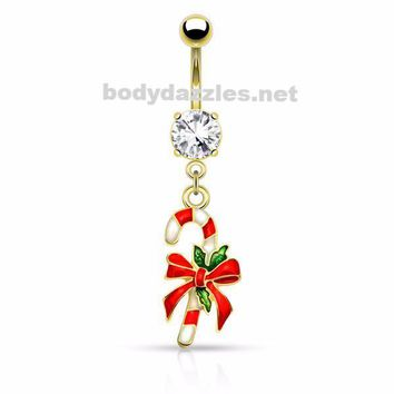 Holiday Gold Candy Cane Belly Button Navel Ring 14ga Surgical Stainless Steel Holiday Christmas