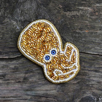 Statement Brooch Golden Octopus Bead Embroidery Pin Brooch Hand beaded Sea themed gift Bead Embroidery Jewelry Beaded pin Gift for ocean fan