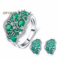 Agate 14.31Ct Natural Green 925 Sterling Silver Gemstone Earrings Ring Set