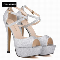 2017 British Lace Up Thin High Heels Women Shoes Bling Sequins Open Toe Hollow Sandals Ankle Strap Woman for Female