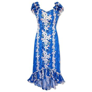 Kuulei Blue Niihau Hawaiian Muumuu Dress