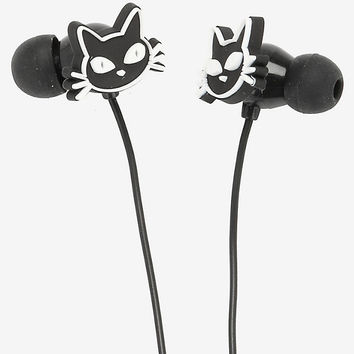 Black Cat Head Silicone Earbuds