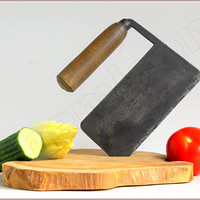 Vintage French vegetable cleaver. French kitchenware, 1940s. reversed handle.