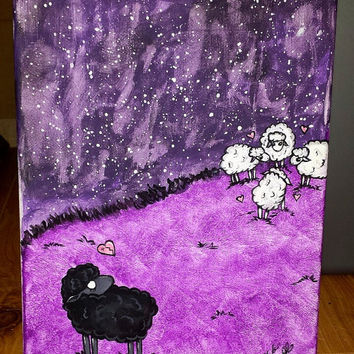 Black sheep. Outsider art. dark. original artwork. painting. art. purple. black and white. sheep. lamb. cast out. heartbroken. sad. feelings