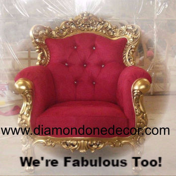 """Palatina Red"" Fabulous Baroque French Reproduction Louis XV Rococo Victorian Chair"