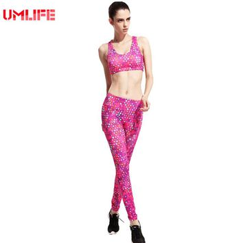 Women Sport Suit Yoga Set Polka Dot Fitness Tracksuit Gym High Elastic 2 Pieces Sports Bra Leggings Woman Yoga Suit Sportswear