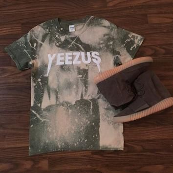Kanye West Yeezus Tour Concert Merch Custom Bleached T Shirt Yeezy I Feel like Pablo T