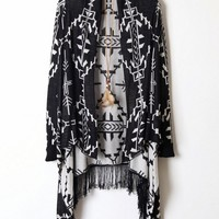 Wheatear Graphic Tassels Open Front Cardigan - OASAP.com