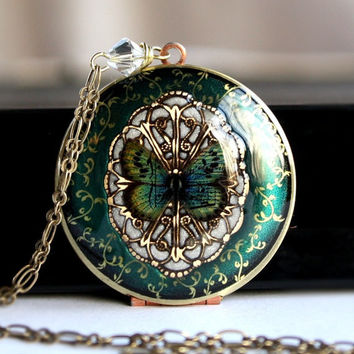 Locket - Bridal Jewelry - Bridesmaid Gift - Pearl - Blue Green Butterfly Locket - Vintage Locket - Women's Necklace