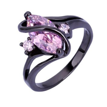 Charming Amethyst Sapphire Vintage Jewelry Women Wedding Ring Purple CZ Band 10KT Black Gold Filled Bridal Rings JXR1