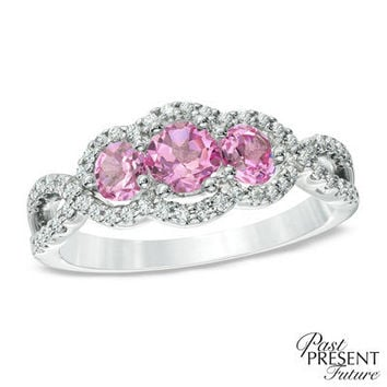 Lab-Created Pink Sapphire and 1/4 CT. T.W. Past Present Future® Engagement Ring in 10K White Gold - Save on Select Styles - Zales