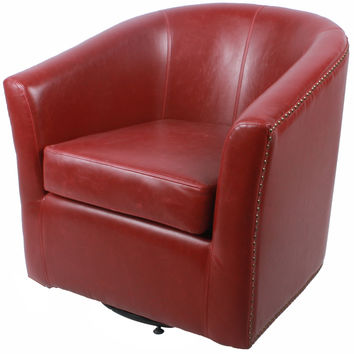 Ernest Bonded Leather Swivel Chair, Vintage Red