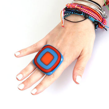 Statement Glass Ring Gift Ideas For her  - big ring, large ring,  handmade fused glass cocktail ring  - FIESTA - 1.9 inch