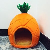 Creative Cute Pineapple Pet House Sleep Basket Cat Puppy Dog Bed for Small Dogs Litter Lounger Foldable Kennel Sofa Niche Cave