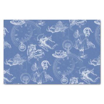 "Alice in Wonderland Tea Time Blue Tissue Paper 10"" X 15"" Tissue Paper"