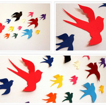3d Paper Birds,Multicolored,Paper Birds,3d bird wall art,bird wall decal,Bird wall art,wall decor,Bird wall hanging,Flying bird wall decals