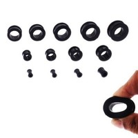 Silicone Plugs Black Double Flare Flexible Tunnel 6 Gauge - 2 Pieces