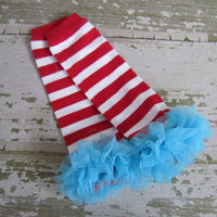 Dr Suess Inspired Legwarmers Red and White Striped with Turquoise Ruffles