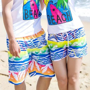 H.S.F.Q Quick-drying Seaside Sunny Beach Lover Shorts Quick Dry Pants Loose Honeymoon Women Men Couple Knickers Short