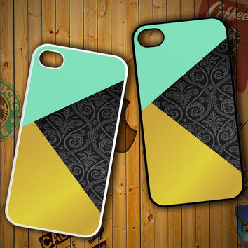 Gold mint green F0456 LG G2 G3, Nexus 4 5, Xperia Z2, iPhone 4S 5S 5C 6 6 Plus, iPod 4 5 Case