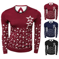 Star Print Ribbed Trim Knitted Sweater