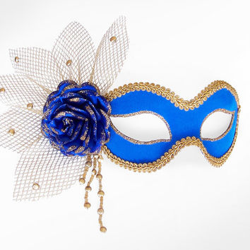 Royal Blue & Gold Masquerade Mask With Rose Decoration - Venetian Style Halloween Mask With Beads, Glitter And Netting Tulle