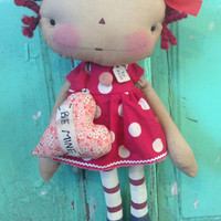 Valentine's Day gifts be mine heart Raggedy Annie Doll