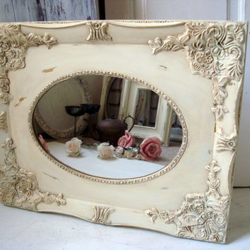 Cream Ornate Vintage Mirror, Distressed Antique Cream Mirror, Shabby Chic, French Cottage Mirror