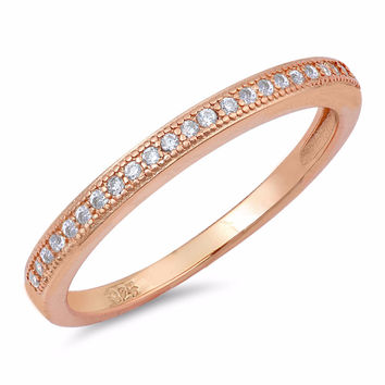 Sterling Silver Rose Gold-Tone Plated CZ Simulated Diamond Half Eternity Band Ring 2MM