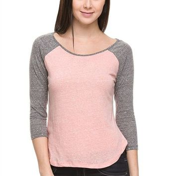 Casual Melange Scoop Neck Color Block 3/4 Sleeve Raglan Baseball Cropped T-Shirt Top