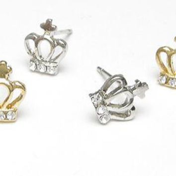 ES145 Stud Earrings Crown Cross Crystal Brincos Tiny Earring Fashion Bijoux Delicate Inlaid Small Jewelry Women