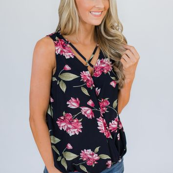 Knowing Me Floral Criss Cross Tank Top- Navy