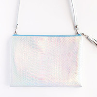 Mermaid Crossbody / Crossbody bag, Clutch bag, Holographic bag, iridescent bag, customizable color zipper