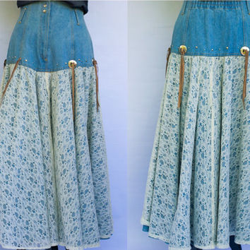 Vintage Denim Maxi Skirt with Lace/ Avant Garde / Size 8/ Gypsy, Boho, Cowgirl, Western, Rodeo/ Fringe Tipped Silver Concho's/Circle skirt.